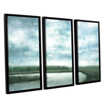 Brushstone Cloudy Day Marsh 3-pc. Floater Framed Canvas Wall Art