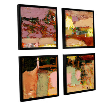 Brushstone Chop Liver 4-pc. Square Floater FramedCanvas Wall Art
