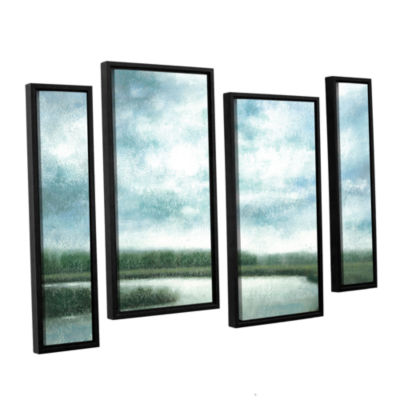 Brushstone Cloudy Day Marsh 4-pc. Floater Framed Staggered Canvas Wall Art