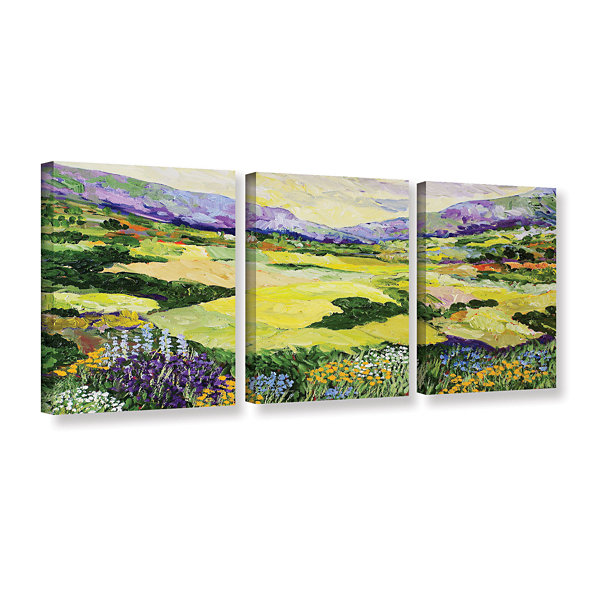 Brushstone Cool Grass 3-pc. Gallery Wrapped CanvasWall Art