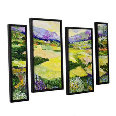 Brushstone Cool Grass 4-pc. Floater Framed Staggered Canvas Wall Art