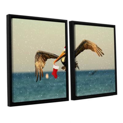 Brushstone Christmas Pelican 1 2-pc. Floater Framed Canvas Wall Art