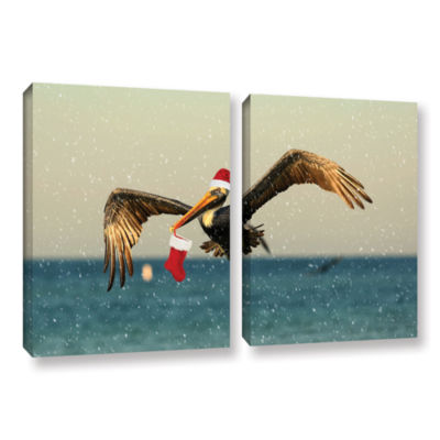 Brushstone Christmas Pelican 1 2-pc. Gallery Wrapped Canvas Wall Art