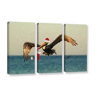 Brushstone Christmas Pelican 1 3-pc. Gallery Wrapped Canvas Wall Art