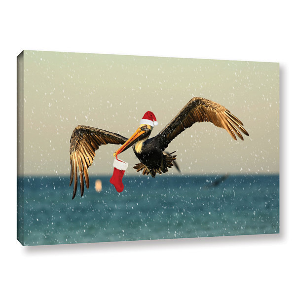 Brushstone Christmas Pelican 1 Gallery Wrapped Canvas Wall Art