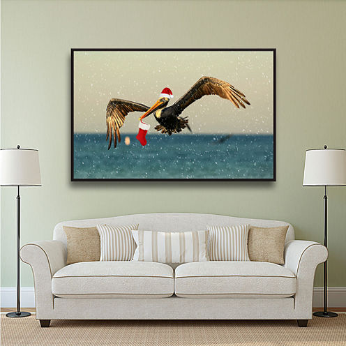 Brushstone Christmas Pelican 1 Gallery Wrapped Floater-Framed Canvas Wall Art