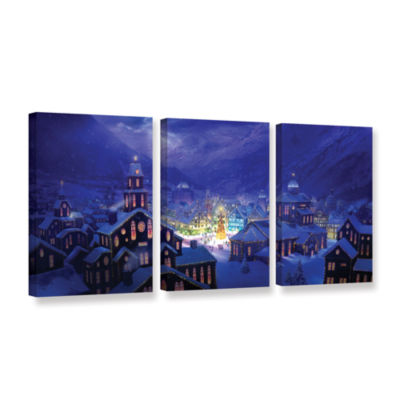 Brushstone Christmas Town 3-pc. Gallery Wrapped Canvas Wall Art