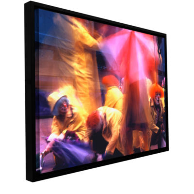 Brushstone Clowns In Fire Drill Gallery Wrapped Floater-Framed Canvas Wall Art
