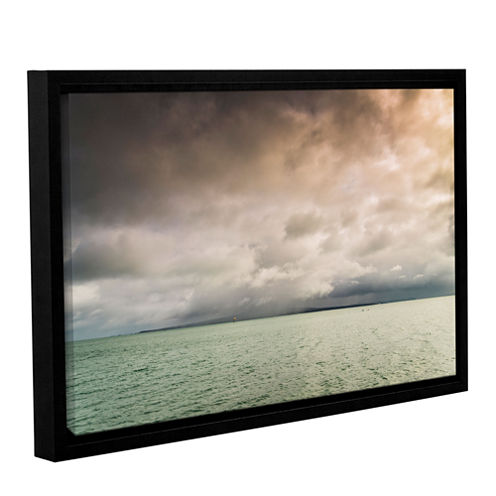 Brushstone Cloudy Sky Over The Sea Gallery Wrapped Floater-Framed Canvas Wall Art
