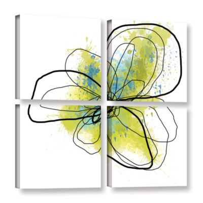 Brushstone Citron Petals Ii 4-pc. Square Gallery Wrapped Canvas Wall Art