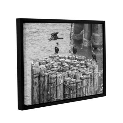 Brushstone Cormorant Landing Black And White Gallery Wrapped Floater-Framed Canvas Wall Art