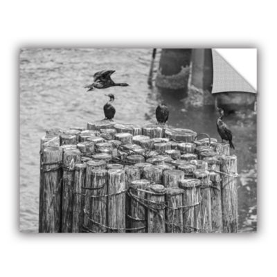 Brushstone Cormorant Landing Black And White Removable Wall Decal