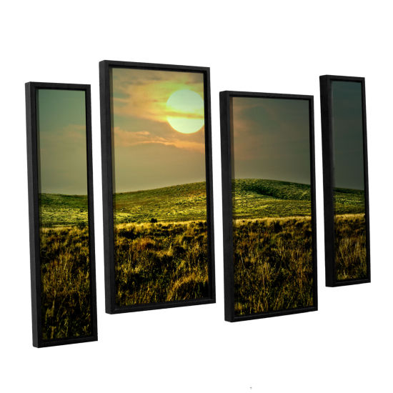 Brushstone Corner Pocket 4-pc. Floater Framed Staggered Canvas Wall Art