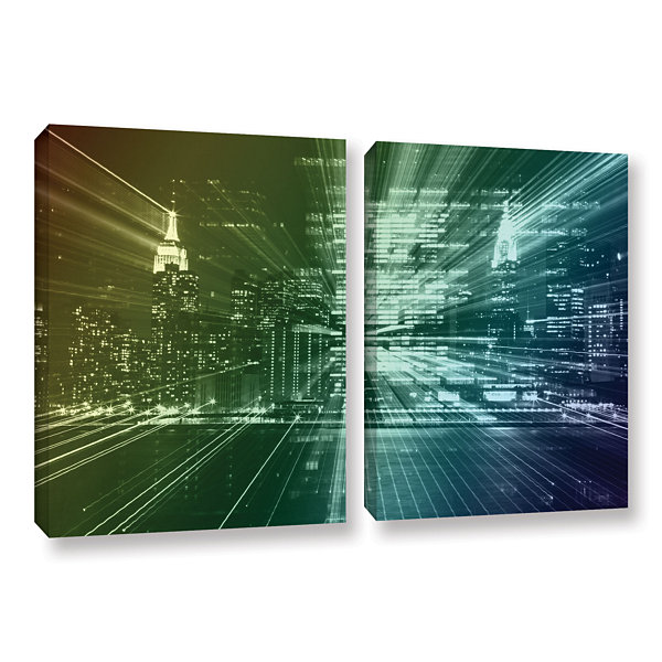 Brushstone City Lights 2-pc. Gallery Wrapped Canvas Wall Art
