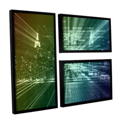 Brushstone City Lights 3-pc. Flag Floater Framed Canvas Wall Art
