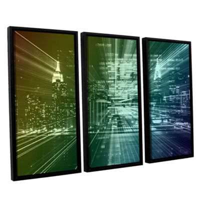 Brushstone City Lights 3-pc. Floater Framed CanvasWall Art