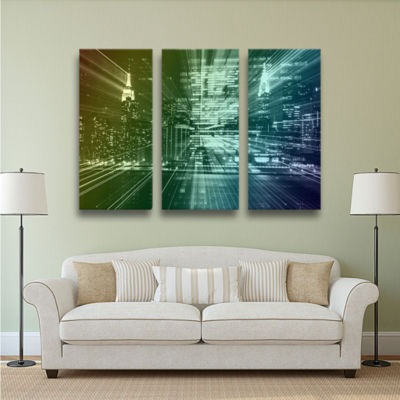 Brushstone City Lights 3-pc. Gallery Wrapped Canvas Wall Art