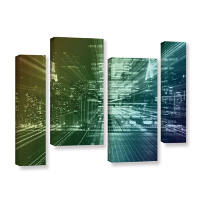 Brushstone City Lights 4-pc. Gallery Wrapped Staggered Canvas Wall Art