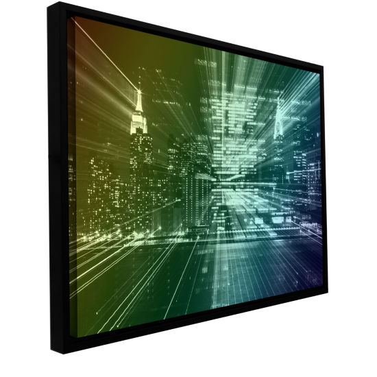 Brushstone City Lights Gallery Wrapped Floater-Framed Canvas Wall Art