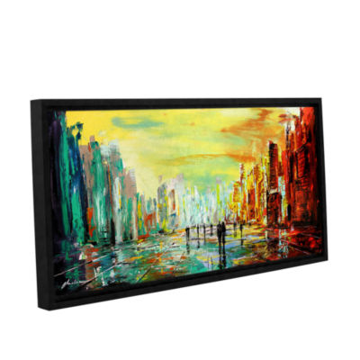 Brushstone City Of Time Gallery Wrapped Floater-Framed Canvas Wall Art