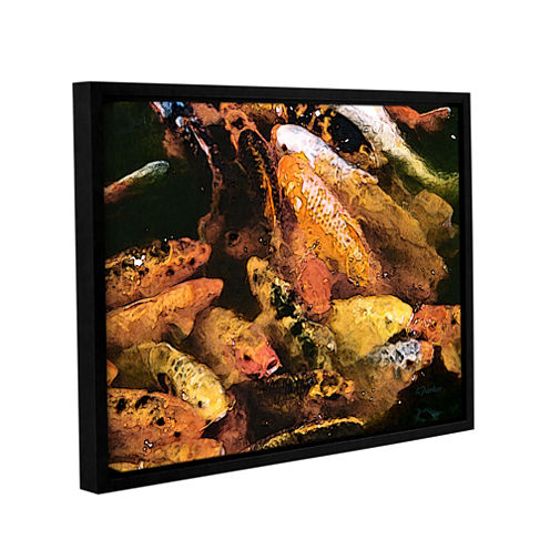 Brushstone Cluster Of Koi Gallery Wrapped Floater-Framed Canvas Wall Art