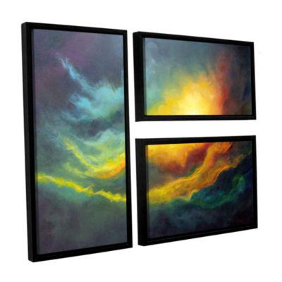 Brushstone Cosmic Light 3-pc. Flag Floater FramedCanvas Wall Art