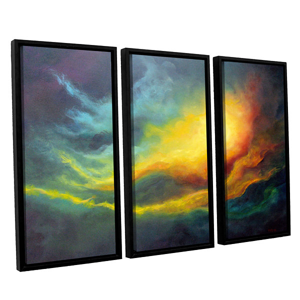 Brushstone Cosmic Light 3-pc. Floater Framed Canvas Wall Art