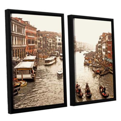 Brushstone 3 Gondolas - Venice 2-pc. Floater Framed Canvas Wall Art