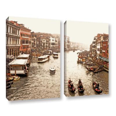 Brushstone 3 Gondolas - Venice 2-pc. Gallery Wrapped Canvas Wall Art