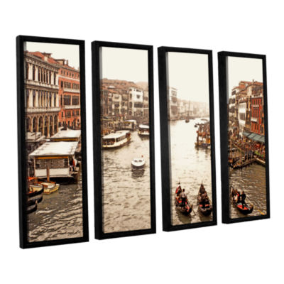 Brushstone 3 Gondolas - Venice 4-pc. Floater Framed Canvas Wall Art