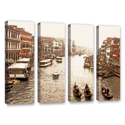 Brushstone 3 Gondolas - Venice 4-pc. Gallery Wrapped Canvas Wall Art