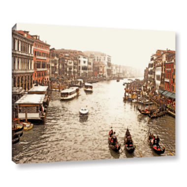 Brushstone 3 Gondolas - Venice Gallery Wrapped Canvas Wall Art