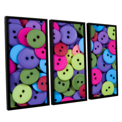 Brushstone Buttons 3-pc. Floater Framed Canvas Wall Art