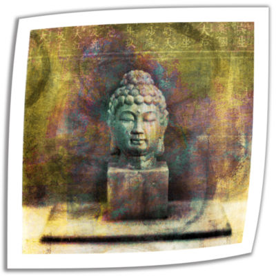 Brushstone Buddha (Mixed Media) Canvas Wall Art