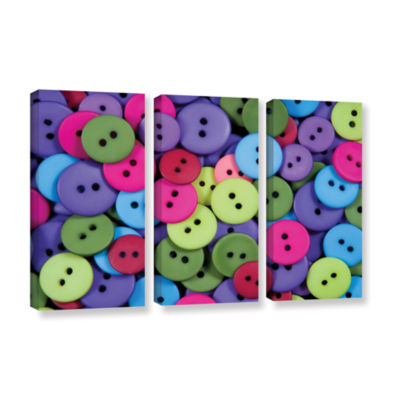 Brushstone Buttons 3-pc. Gallery Wrapped Canvas Wall Art