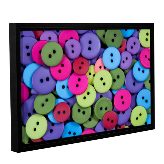 Brushstone Buttons Gallery Wrapped Floater-FramedCanvas Wall Art