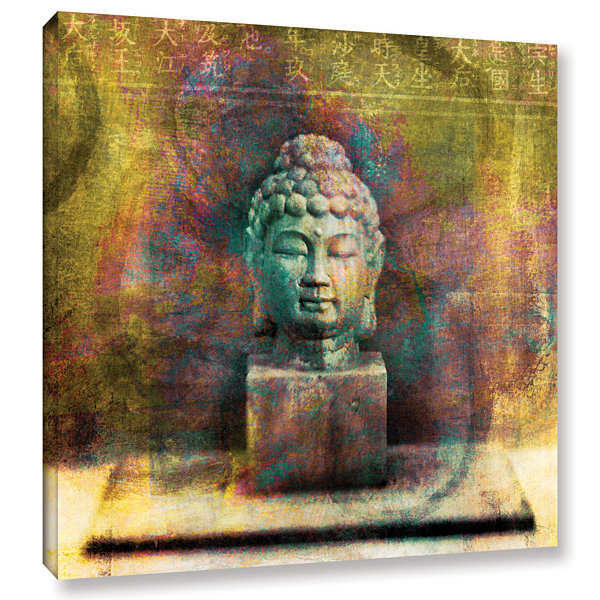 Brushstone Buddha (Mixed Media) Gallery Wrapped Canvas Wall Art
