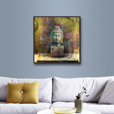 Brushstone Buddha (Mixed Media) Gallery Wrapped Floater-Framed Canvas Wall Art