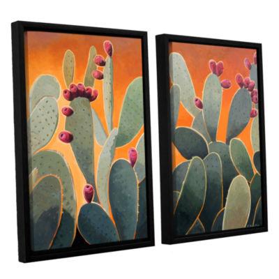 Brushstone Cactus Orange 2-pc. Floater Framed Canvas Wall Art