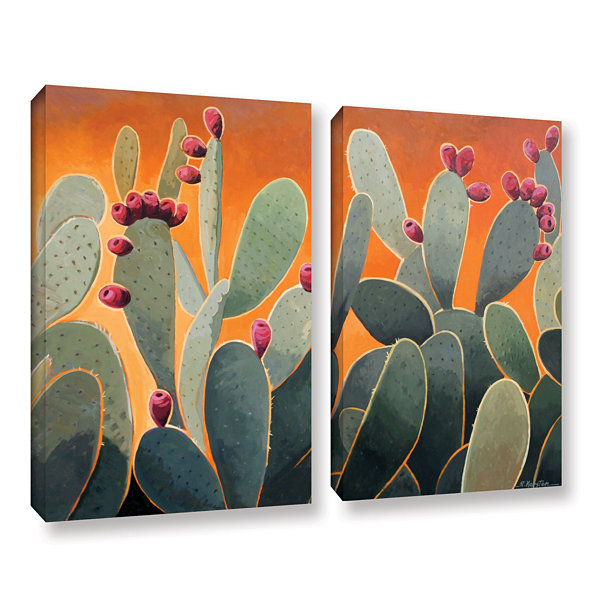 Brushstone Cactus Orange 2-pc. Gallery Wrapped Canvas Wall Art