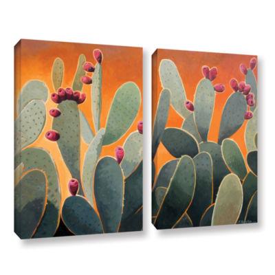 Brushstone Cactus Orange 2-pc. Gallery Wrapped Canvas Wall Art