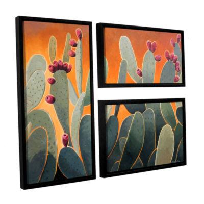 Brushstone Cactus Orange 3-pc. Flag Floater FramedCanvas Wall Art