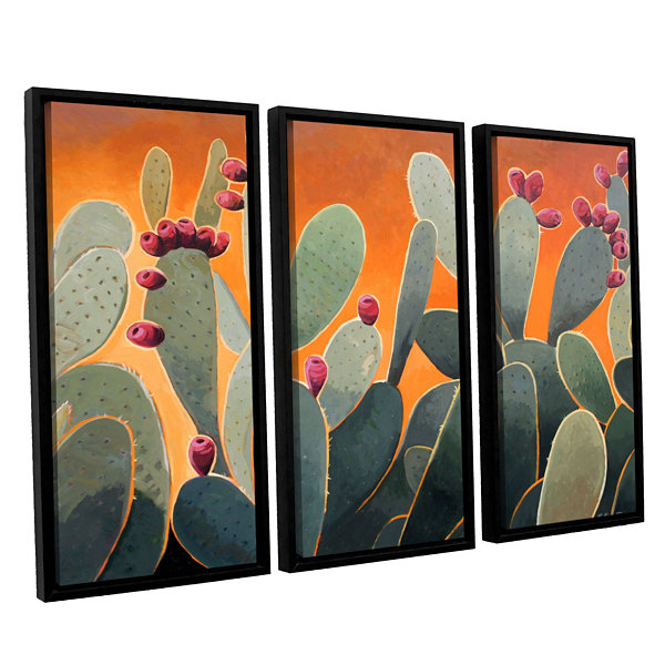 Brushstone Cactus Orange 3-pc. Floater Framed Canvas Wall Art