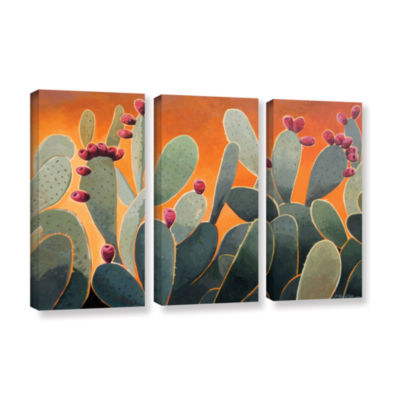 Brushstone Cactus Orange 3-pc. Gallery Wrapped Canvas Wall Art