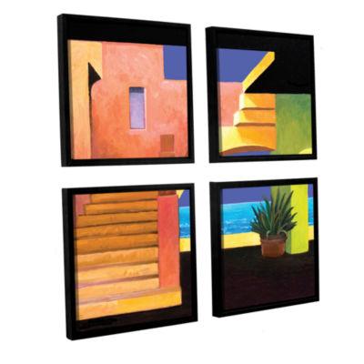 Brushstone Casa Del Mar 4-pc. Square Floater Framed Canvas Wall Art