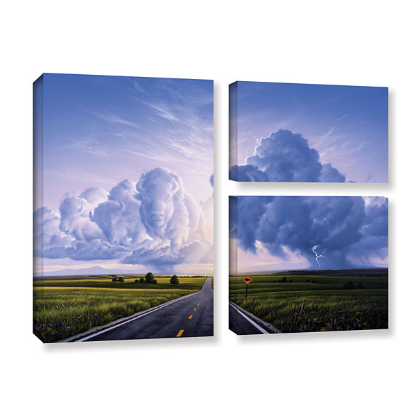 Brushstone Buffalo Crossing 3-pc. Flag Gallery Wrapped Canvas Wall Art