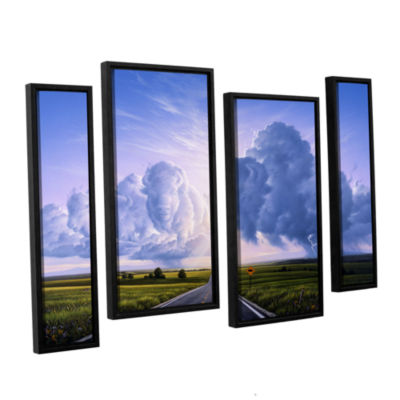 Brushstone Buffalo Crossing 4-pc. Floater Framed Staggered Canvas Wall Art
