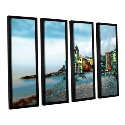 Brushstone Camogli; Italy Beachside 4-pc. FloaterFramed Canvas Wall Art