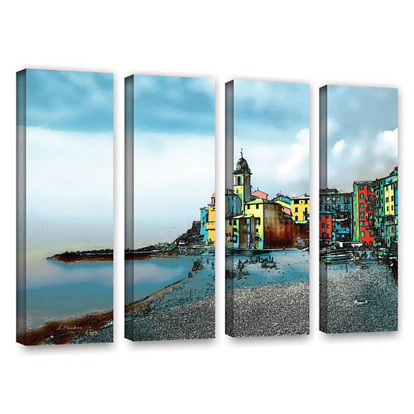 Brushstone Camogli Italy Beachside 4-pc. Gallery Wrapped Canvas Wall Art