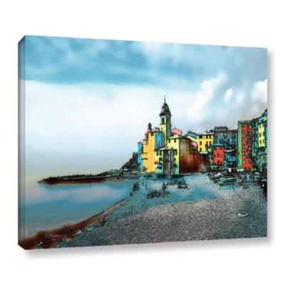 Brushstone Camogli Italy Beachside Gallery WrappedCanvas Wall Art
